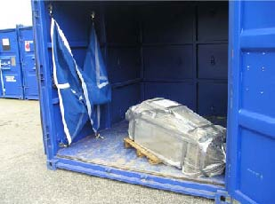 Heavy and valuable motor left unsecured for transit