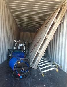 Equipment packed into a container unsecured