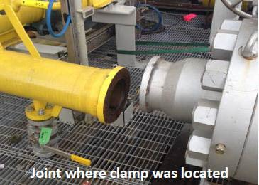 Joint where clamp was located