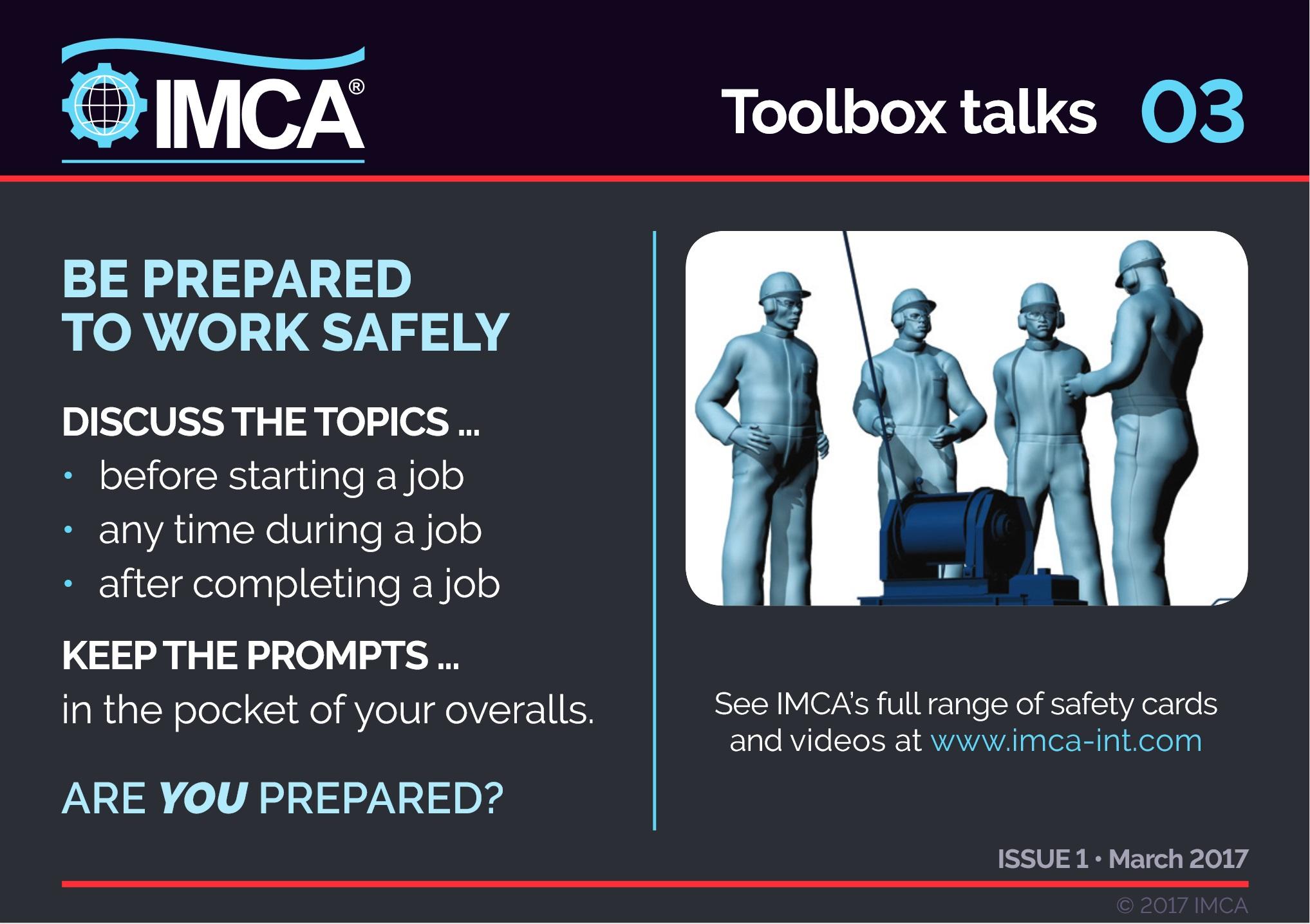 Toolbox talks – IMCA